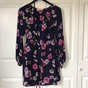 Rebecca Taylor ruffle front LS floral print dress